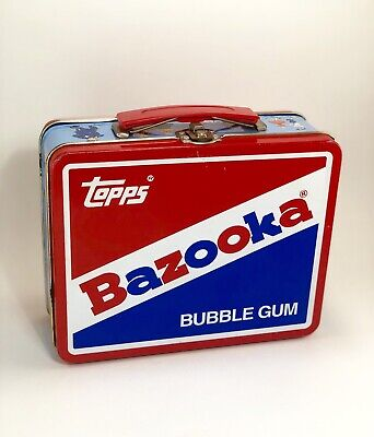 TOPPS Retro BAZOOKA BUBBLE GUM Tin Lithograph Lunchbox Classic Vintage Red/Blue