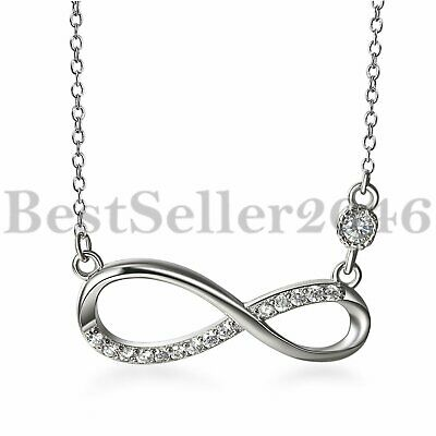 925 Sterling Silver Cubic Zirconia Infinity Symbol Pendant Womens Necklace Chain