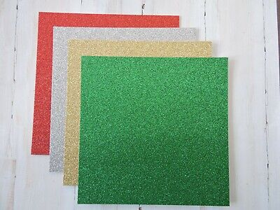 Christmas Glitter Card Stock -- Traditional Colours
