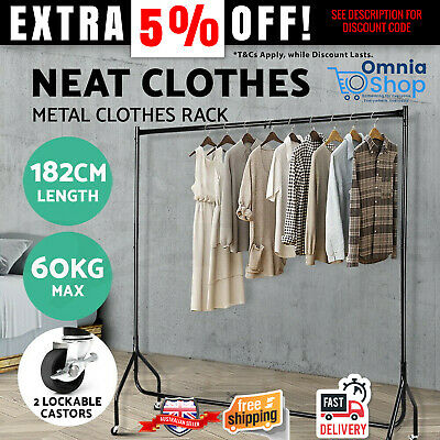 Mobile Clothes Rack On Wheel Portable Garment Hanging Rail Heavy Duty Bar Stand