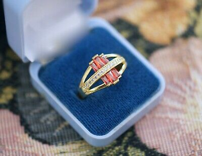 Vintage Jewellery Gold Ring with Ruby White Sapphires Antique Deco Jewelry R 9