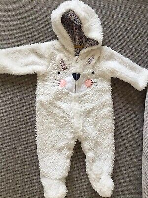 Mothercare Baby Girls White Fur Hooded Snowsuit Pramsuit Age: Upto 1 Month