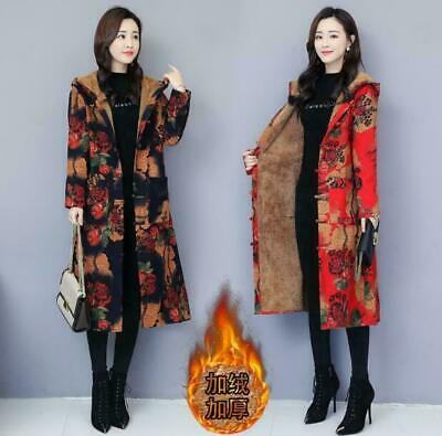 Women Cotton Linen Folk Art Maxi Long Button Floral Loose Jacket Dress Coat warm