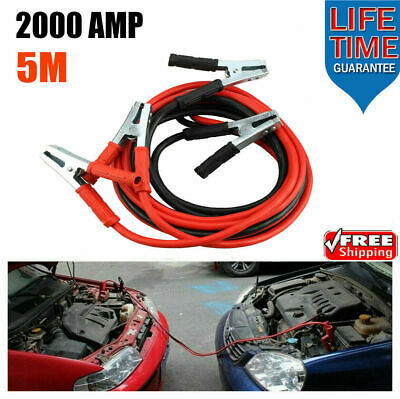 2000Amp Heavy Duty Battery Jump Leads 5 Metre Long Booster Cables Car Van Truck
