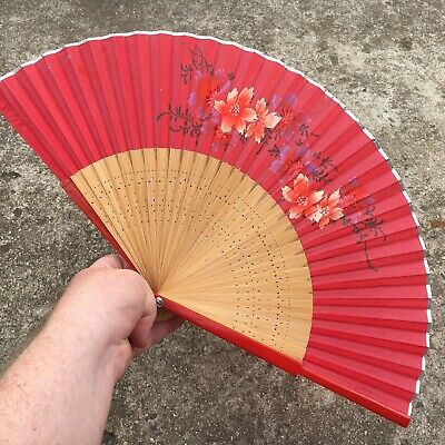 "WILD SPRING FLOWERS ""Red & Brown"" Beautiful Wooden Decorative Hand Fan"