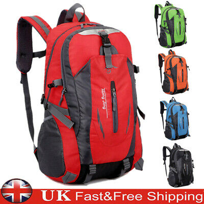 45L Large Mens Womens Waterproof Backpack Rucksack Hiking Camping School Bag UK