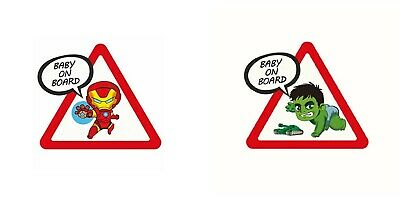 Autocollants Voiture Bébé à bord Ironman & Hulk Baby on Board Sticker