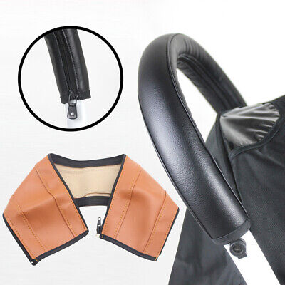 LD_ KQ_ Baby Stroller Faux Leather Armrest Handle Wheelchair Protective Zip Ca