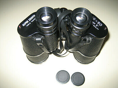 Vtg Super Zenith 10X50 Field 5 Binoculars With Case And Caps