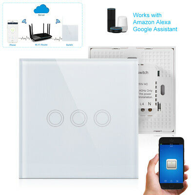 Wireless Remote Control Tempered Glass Smart Touch Switch Wall Light Panel AH673