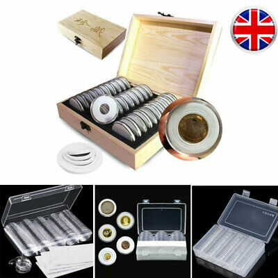 Wooden / Plastic Coins Display Storage Box Case Collectible Coin 50/100 Capsules