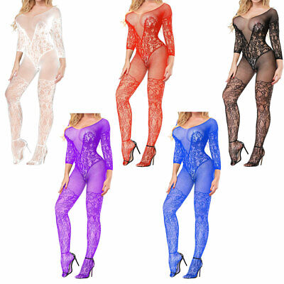 Women Body Stocking Sexy Lingerie Erotic Open Crotch Lace Teddy Dress Babydoll