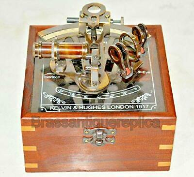 Brass Working German Nautical Sextant with Wooden Box