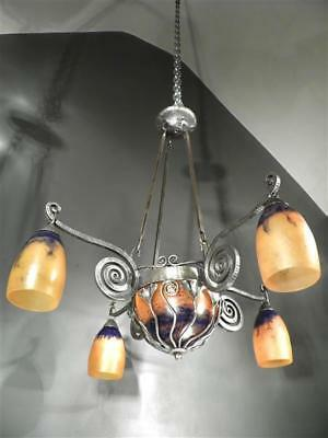 "1920-30 Daum and Brandt Chandelier "" Ginkgo Biloba "" Wrought Iron Paste Glass"