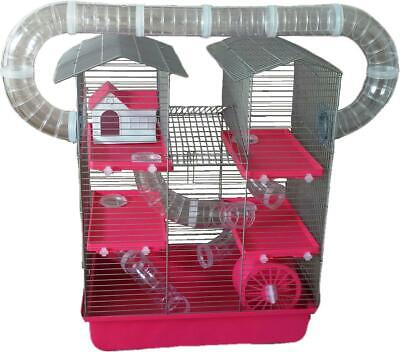 Large Syrian Hamster Gerbil Cage 4 tier 14 pc tunnels exercise wheel house Pink