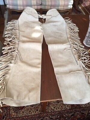 Vintage 60s Western Buckskin Leather Fringed Horse Riding Chaps 32W, 32L.