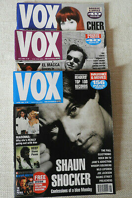 VOX Music Magazines: June, July, August 1991 Featuring Shaun Ryder, Cher, Pixies