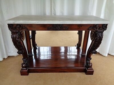 A Fine Regency Rosewood Console Table / Antique Carved Side Table Marble Top
