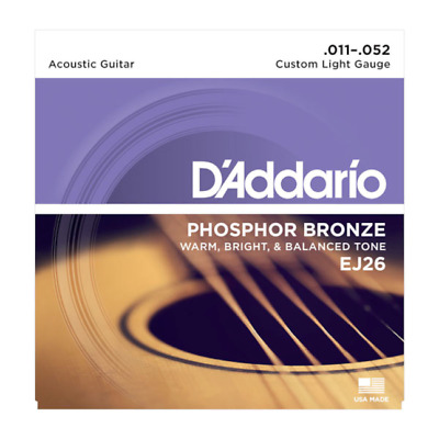 D'Addario EJ26 Acoustic Guitar Strings Phosphor Bronze Custom Light 11-52 Set