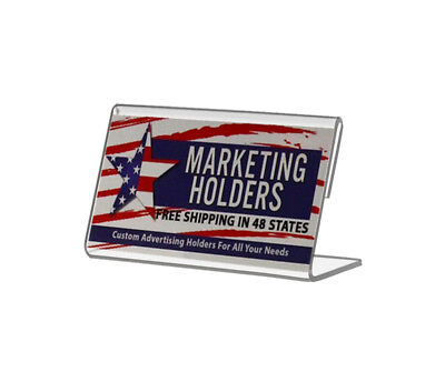 """3.5""""W x 2""""H Slant Back Table Tent Business Card Small Signage Holder"""