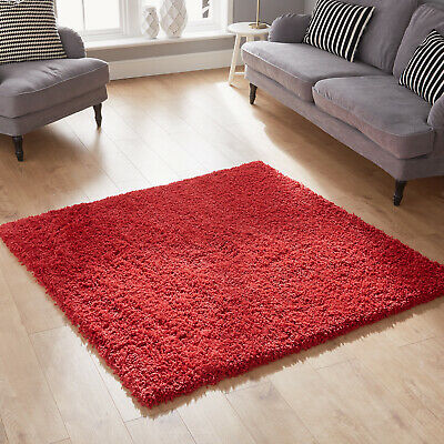 Modern Fluffy Cosy Bright Red Shaggy Rug Thick 5Cm Pile Warehouse Clearance Sale