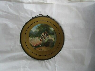 Antique Victorian Fancy Cook Stove Chimney Flue Cover Boys and Dog Playing