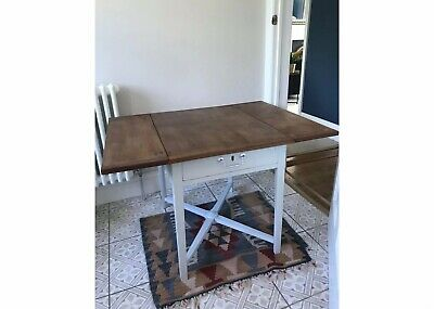 Small Wooden Refurbished Antique Drop Leaf Table. Coffee Table. Occasional Table