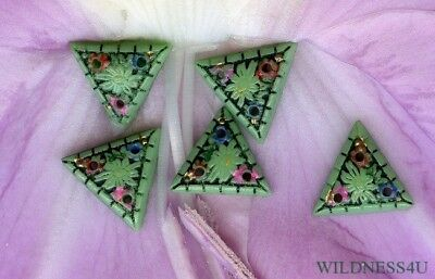 VINTAGE Czech ART DECO PAINTED GLASS FLOWER BEADS CHARMS 3 HOLE SEW ON BUTTONS
