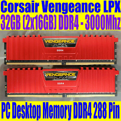 32GB DDR4 3000Mhz Ram (2 x 16GB) Corsair Vengeance LPX Desktop PC memory RED