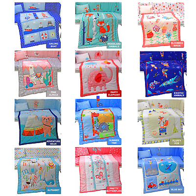 Soft Fun Baby Nursery Bed Bedding Set Cot Quilt Duvet Bumper Fitted Sheet Pillow