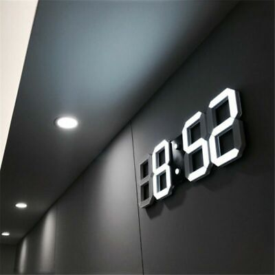 3D LED Digital Wall Clock Electronic Alarm Voice Control, Brightness Adjustable