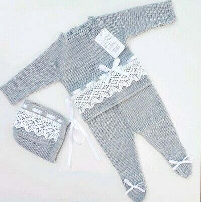 Spanish Baby Boy Girl Unisex Knitted 3 Piece Set Romany Grey 0 - 3 months