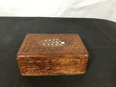 """6"""" Wooden Trinket / Jewelry Box - India - Amazing Hand Carvings - Very Unique"""