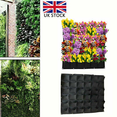 36 Pocket Wall Hanging Planting Bag Vertical Flower Grow Pouch Planter Garden UK