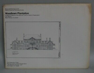 Vintage MEASURED DRAWINGS House Plans WOODLAWN PLANTATION Mt. Vernon Virginia