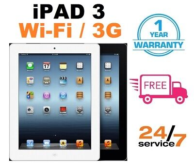 Apple iPad 3 -16/32/64GB - WiFi or 3G - 9.7in - Black or White - Various Grades