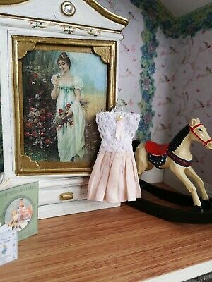 1:12th scale~ victorian style child's gown hanging display~ hand made by suey