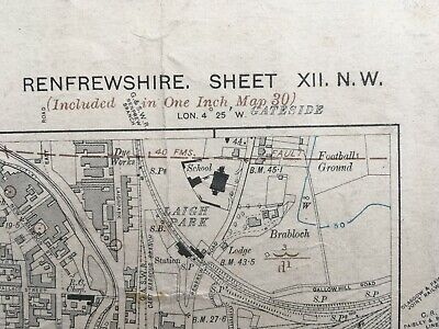 Geological Map edition of 1916. County Quarter Sheet Renfrewshire XII. NW.
