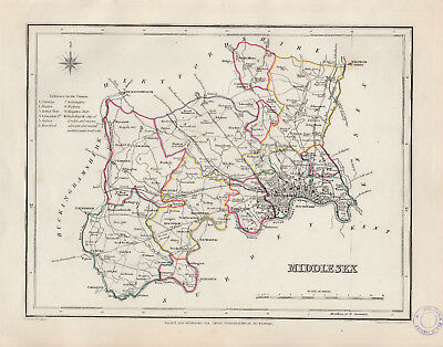 c1845 map of Middlesex drawn by Richard Creighton