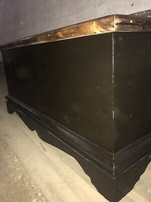 Ebonisd Wooden Chest With Burnt Wood Top Blanket Box Storage Box Pine Chest