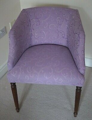 Elegant Antique Tub Style Chair Lilac Purple FAB Shape with Fluted Wooden Legs
