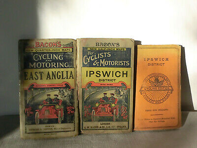 BACON's HALF QUARTER INCH CYCLING & MOTORING MAPS VINTAGE EAST ANGLIA + IPSWICH
