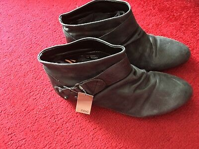 Next Black / Grey Leather Ankle Boots Vintage style  Sz 2 New RRP £24.99