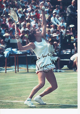 VIRGINIA WADE Signed 12x8 Photo WIMBLEDON TENNIS Champion COA