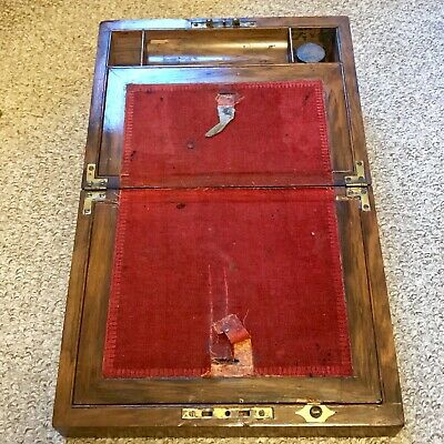 ANTIQUE Pine Writing Slope, In Original Condition, Brass Hinges & Ink Well.