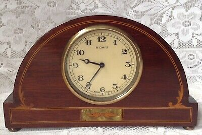 Antique Mantel Clock Mahogany Case String Inlay, Swiss Made 8 Day Brass Movement