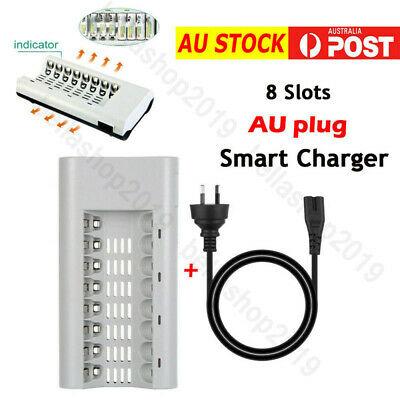 8 Slots Smart Safe Charger AU Plug For AA AAA Ni-MH / Ni-Cd Rechargeable Battery