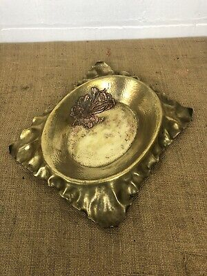 Antique Arts & Crafts Mission Hammered Brass Copper Picture Frame 12""