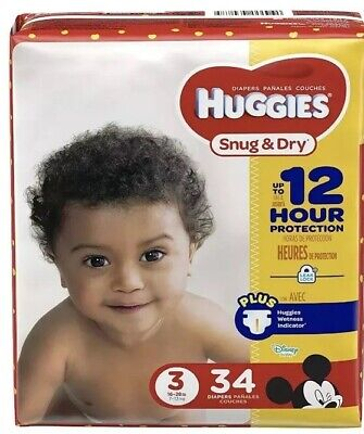 Huggies Snug & Dry Diapers Size 3 (16-28lbs) 34 Count  Disney Themed