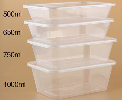 Take away Plastic Food Container with Lids, 500,650,750,1000 ml